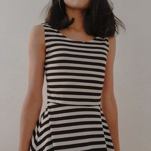 Divided by H&M Navy/White Striped Scoop Neck Dress